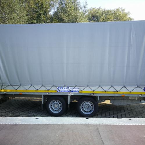 4m x 1m80 x 1m80 / 2700 kg / Plateau aanhangwagen met huif