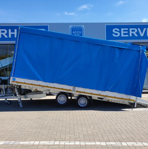 5m x 2m20 x 2m20 / 3500 kg / Gesloten, kantelbare multitrailer met oprijklep .
