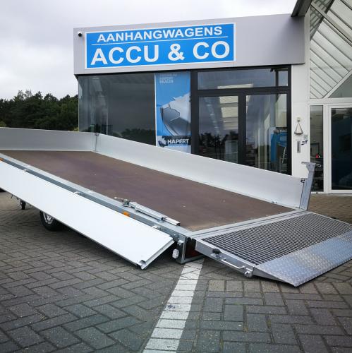 3m66 x 1m75 x 35 cm / 1500 kg / Kantelbare plateau aanhangwagen met oprijklep
